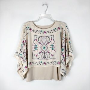 Chico's Oversized Poncho Embroidered Boho Top